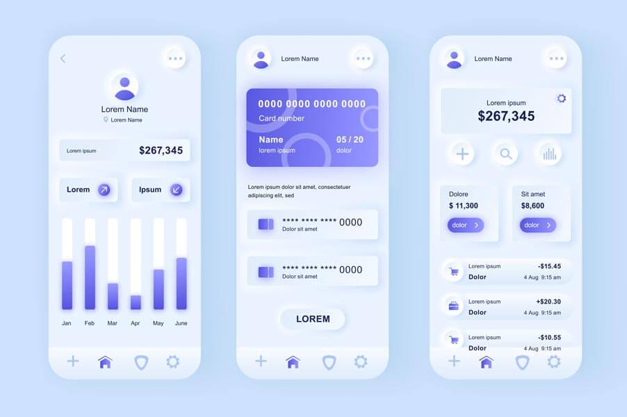وکتور رابط کاربری UI اپلیکیشن موبایل بانک