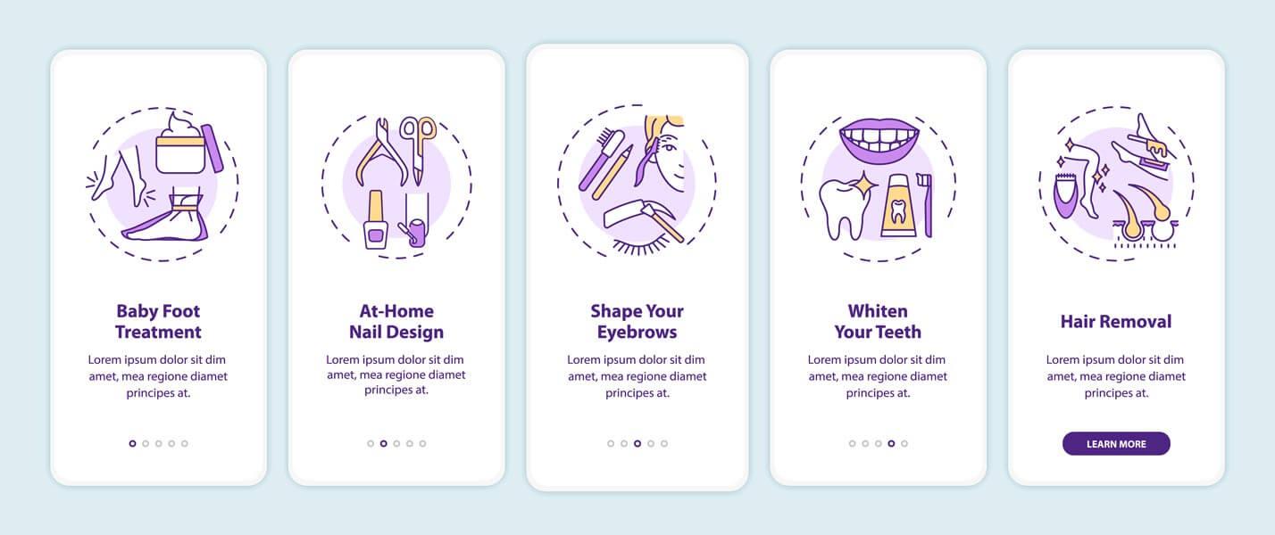 وکتور قالب بنر موبایل رابط کاربری UI زیبایی سلامت