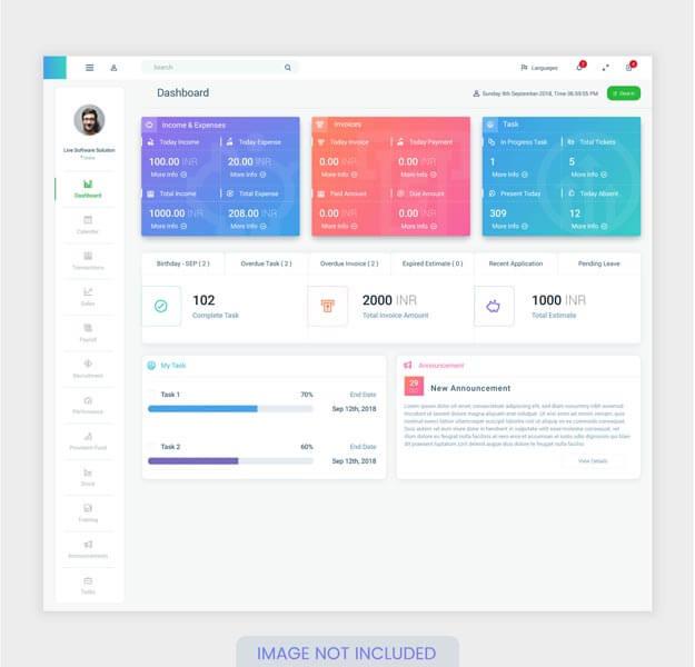 وکتور قالب UI UX داشبورد حساب کاربری وبسایت