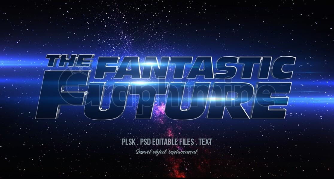 افکت آماده فتوشاپ متن سه بعدی فضایی آینده کهکشان