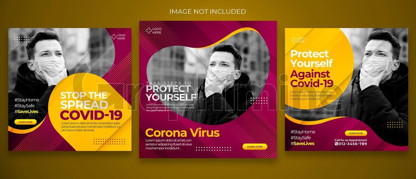 طرح لایه باز مجموعه قالب پست اینستاگرام کووید ۱۹ کرونا ویروس ماسک