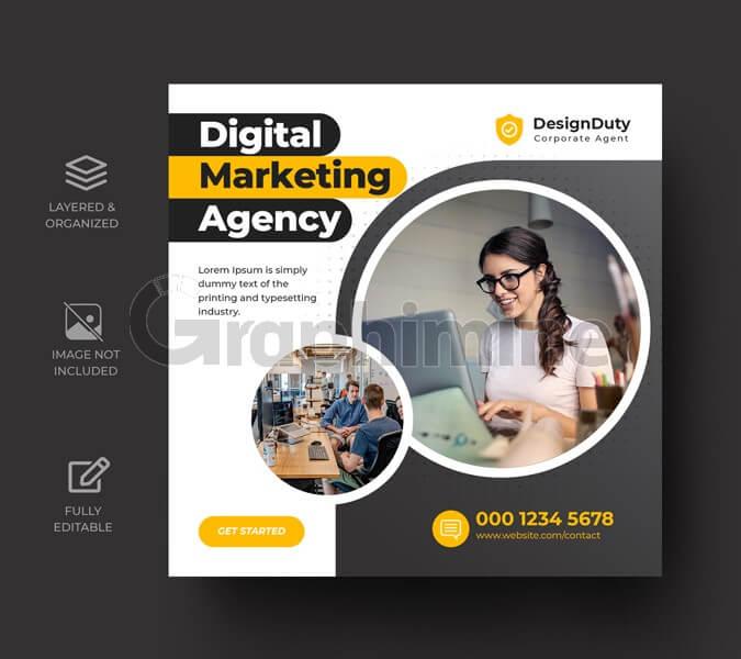 طرح لایه باز قالب پست اینستاگرام آژانس دیجیتال مارکتینگ بازاریابی