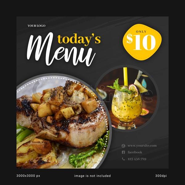 طرح لایه باز قالب پست اینستاگرام منو غذا امروز رستوران